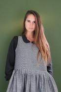 Pleated dress, sleeveless, small stripes fabric