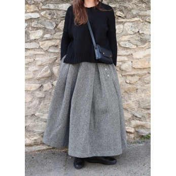 Pleated skirt, herringbone wool drap