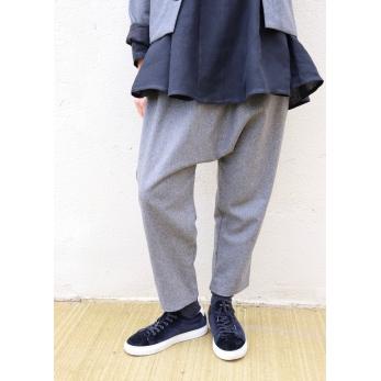 Pantalon sarouel, lainage gris