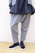 Saroual trousers, grey wool blend