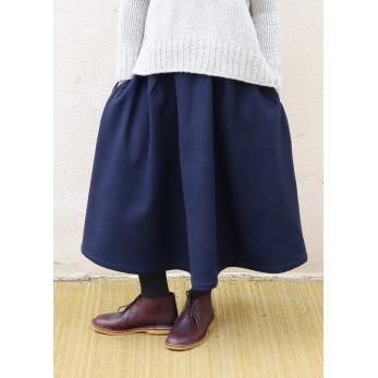 Jupe longue, drap bleu marine