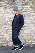 Classic trousers, black wool drap