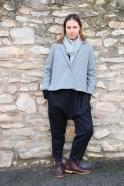 Flared jacket, gey wool