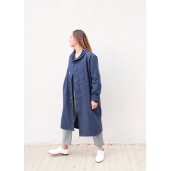 Coat, blue recycled denim