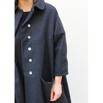 Claudine coat, grey wool drap