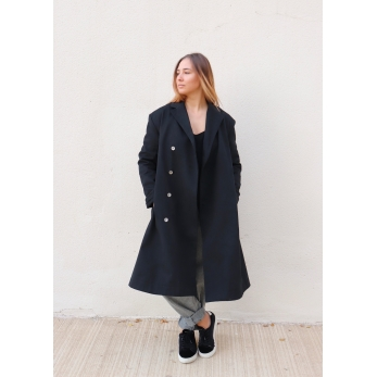 Unisex coat, black denim