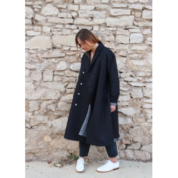 Manteau mixte, drap gris