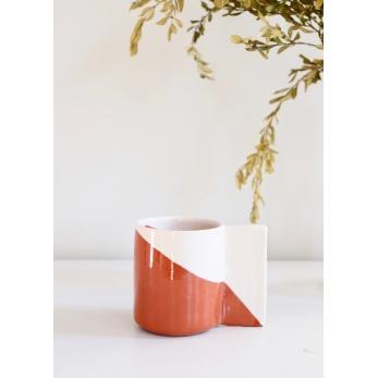 Terracotta mug with flat rectangular handle
