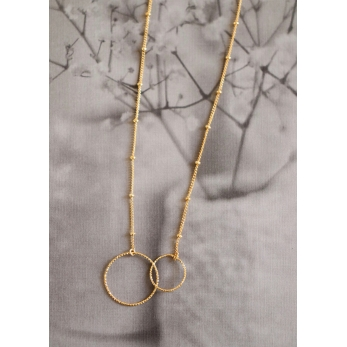 """Double circles"" necklace gold"
