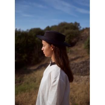 Canotier hat, black straw