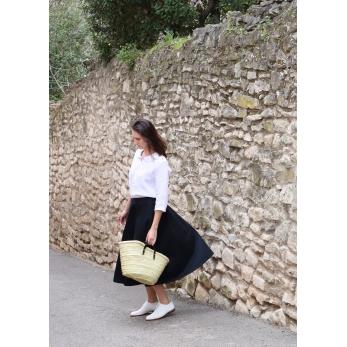 Long skirt, black denim