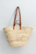 Basket with 2 handles, brown leather