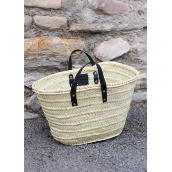 Basket with handles in black leather