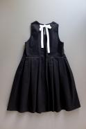 Long pleated bow dress, white denim