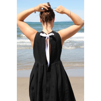 Pleated bow dress, black linen