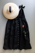 Strap dress, black linen