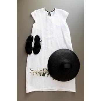 Robe évasée manches courtes Uniforme, lin blanc