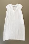 Robe évasée manches courtes, col V, lin blanc