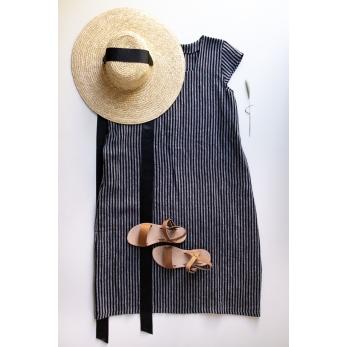 Flared dress, short sleeves, squared neck, dark stripes linen