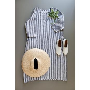Flared dress, 3/4 sleeves, V neck, light stripes linen