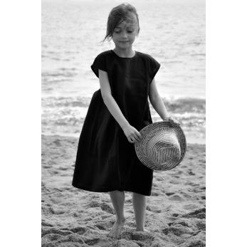 Flared dress, short sleeves, black linen