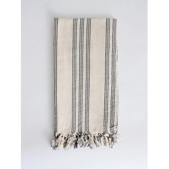 Beach towel, black and natural stripes
