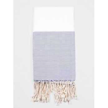 Beach towel, blue and white stripes