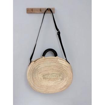 Crossbody basket, black leather