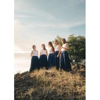 Skirt 03, indigo heavy linen