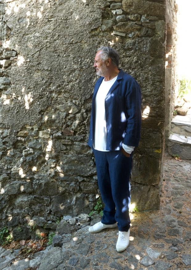 Suit jacket for man, indigo heavy linen
