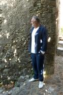 Veste de costume pour homme, lin épais indigo