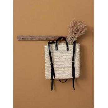 Panier sac à dos en cuir noir