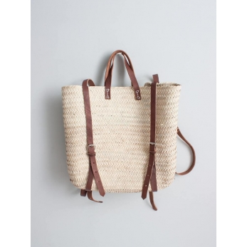 Basket backpack with handles in brown leather