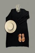 Robe évasée Uniforme, manches longues, lin noir