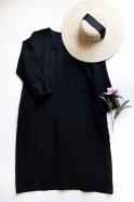 Robe évasée manches longues, col profond, lin noir