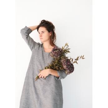 Flared dress, long sleeves, U neck, small stripes fabric
