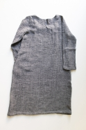 Flared dress, long sleeves, squared neck, grey linen
