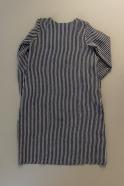 Flared dress, long sleeves, squared neck, dark stripes linen