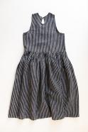 Uniform pleated dress sleeveless, dark stripes linen