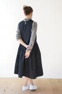 Robe à plis sans manche, jean noir