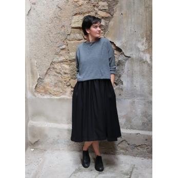 Pleated dress, sleeveless, black flannel