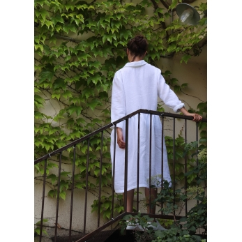 Robe-chemise manches longue Uniforme, lin blanc