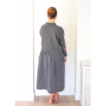 Uniform shirt-dress long sleeves, dark stripes linen