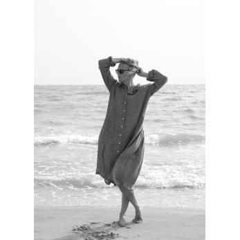 Robe-chemise, lin gris