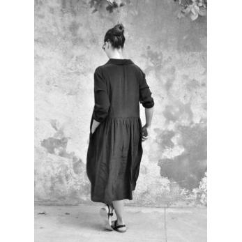 Shirt-dress, black silk