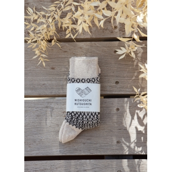 Wool Jacquard socks, light grey