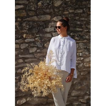 Long sleeves pleated shirt, white linen