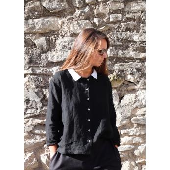Shirt 05, black linen