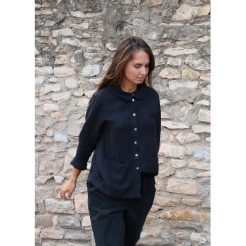 Claudine shirt, black linen