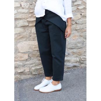 Pleated trousers, black denim